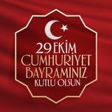 29 Ekim Cumhuriyet Bayrami Übersetzung: Am 29. Oktober Tag der Republik die Türkei und der Nationaltag in der Türkei lizenzfreie stockbilder