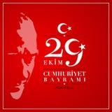 29 Ekim Cumhuriyet Bayrami 29 de Nationale Republiek van Oktober Dag o vector illustratie