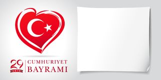 29 ekim Cumhuriyet Bayrami kutlu olsun heart and flag banner white. 29 october Republic Day Turkey and the National Day in Turkey in national flag color. Vector Stock Image