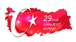 29 Ekim Cumhuriyet Bayrami op Vectorillustratie Stock Fotografie