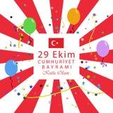 29 Ekim Cumhuriyet Bayrami Signification turque : République du 29 octobre illustration stock
