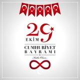 29 Ekim Cumhuriyet Bayrami 29th Października republiki Krajowy dzień o ilustracja wektor