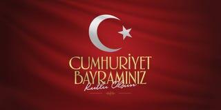 29 Ekim Cumhuriyet Bayrami Traducción: El día Turquía de la república del 29 de octubre y el día nacional en Turquía, deseos de l imágenes de archivo libres de regalías