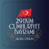 29 Ekim Cumhuriyet Bayrami Traduction : Jour Turquie de République du 29 octobre et le jour national en Turquie illustration stock