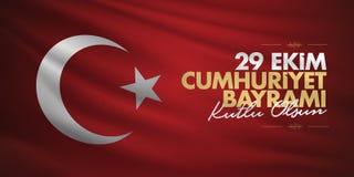 29 Ekim Cumhuriyet Bayrami Traduction : Le jour Turquie de République du 29 octobre et le jour national en Turquie, souhaits de p illustration libre de droits