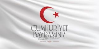 29 Ekim Cumhuriyet Bayrami Traduction : Le jour Turquie de République du 29 octobre et le jour national en Turquie, souhaits de p illustration de vecteur