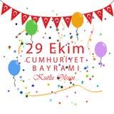 29 Ekim Cumhuriyet Bayrami Turkisk betydelse: Oktober 29 republik stock illustrationer