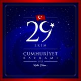 29 October, Republic Day Turkey celebration card. Vector Illustration