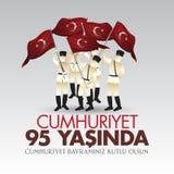 29 Ekim Cumhuriyet Bayrami Vertaling: 29 oktober-Republiek Dag Turkije en de Nationale Dag in Turkije vector illustratie