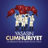 29 Ekim Cumhuriyet Bayrami Vertaling: 29 oktober-Republiek Dag Turkije en de Nationale Dag in Turkije royalty-vrije illustratie