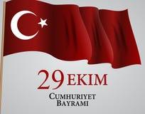 29 Ekim Cumhuriyet Bayraminiz Översättning: 29 oktober republikdag Turkiet också vektor för coreldrawillustration royaltyfri illustrationer