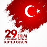 29 Ekim Cumhuriyet Bayraminiz kutlu olsun. Translation: 29 october Happy Republic Day Turkey.  Royalty Free Stock Photo