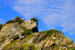 Ekklisia贴水卡苏利季斯教堂,斯科派洛斯岛,希腊 库存照片