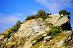 Ekklisia Agios Ioannis Chapel, Skopelos, Griekenland stock foto's
