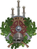 Ekkransen, en Viking hjälm och två korsade stridsyxor, tre svärd och en sköld som dekorerades med runor Royaltyfri Fotografi