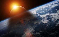 Eklipse der Sonne auf den Wiedergabeelementen Planet Erde 3D von Stockbilder