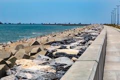 Eko Атлантик-Сити Лагос Нигерия; берега нового города стоковое изображение