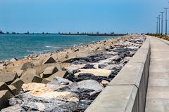 Eko Atlantic City Lagos Nigeria; die Ufer der neuen Stadt stockbild