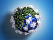 Ekokontsept nature preservation the planet is covered with trees. Clouds flying over it 3d render on gradient Stock Photo