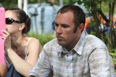 Ekologer Suren Gazaryan på ett möte av aktivister i den Khimki skogen Royaltyfria Bilder