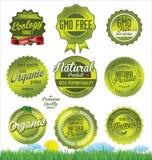 Ekologi GMO frigör etiketter Arkivfoton
