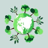 ekologi Gröna städer hjälper världen med eco-vänskapsmatch begreppsidé med jordklotet och trädbakgrund illustration Royaltyfri Bild