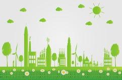 Ekologi gröna städer hjälper världen med eco-vänskapsmatch begreppsidéer illustration Arkivfoto