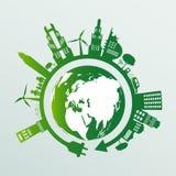 ekologi Gröna städer hjälper världen med eco-vänskapsmatch begreppsidéer också vektor för coreldrawillustration royaltyfri illustrationer