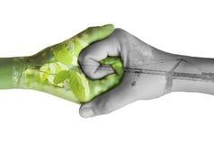 ekologi hands två Arkivfoton