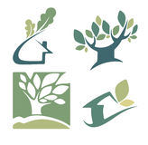 Ekologi, natur, hus och hemtecken och symboler Fotografering för Bildbyråer