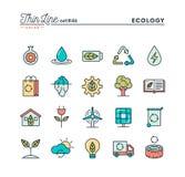 Ekologi, naturen, ren energi, återvinning och mer, gör linjen sänka tunnare vektor illustrationer