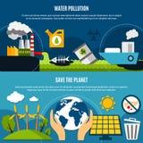 Ekologi- och föroreningbaneruppsättning stock illustrationer