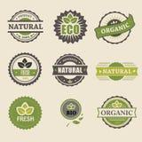 Ekologi organisk symbolsuppsättning Eco-symboler Arkivbild