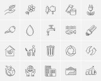 Ekologi skissar symbolsuppsättningen royaltyfri illustrationer