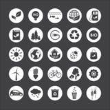 ekologi Vektoruppsättning av ecosymboler på grå bakgrund Arkivbild