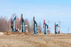 Ekologia, bionomics dzień Czerwiec Kazakhstan miesiąc olej pompuje western Przemysł paliwowy equipment Belkowata pompa obraz royalty free