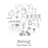 Ekologia i przetwarza doodle ikony ustawiać Obrazy Royalty Free
