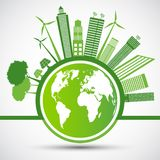 Ekologia i ?rodowiskowy poj?cie, Ziemski symbol Z Zielonymi li??mi Woko?o miast Pomagamy ?wiatowi Z ?yczliwymi pomys?ami, wektor zdjęcie royalty free