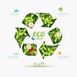 Ekologia infographic przetwarza symbolu kształta projekt natura save Fotografia Stock