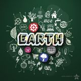 Ekologia kolaż z ikonami na blackboard Zdjęcie Stock