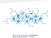 Ekologia mechanizmu pojęcie Abstrakcjonistyczny tło z związanymi przekładniami i ikonami dla eco życzliwego energetycznymi, środo Fotografia Royalty Free