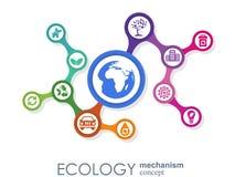 Ekologia mechanizmu pojęcie Abstrakcjonistyczny tło z związanymi przekładniami i ikonami dla eco życzliwego energetycznymi, środo Zdjęcia Royalty Free