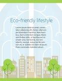 Ekologia, życzliwy miasto ulotki projekt Ilustracji