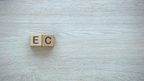 Ekologia, zatrzymuje ruchu słowo na drewnianych sześcianach, środowisko ochrona, przetwarza zdjęcie wideo