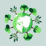 ekologia Zieleni miasta pomagają światowi z życzliwym pojęcie pomysłem z kuli ziemskiej i drzewa tłem ilustracja Obraz Royalty Free