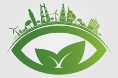 ekologia Zieleni miasta pomagają światowi z życzliwymi pojęcie pomysłami również zwrócić corel ilustracji wektora Fotografia Stock