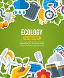 Ekologibakgrund med miljön och gräsplan Arkivfoton
