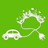 Ekologibegrepp med det ecobilen och molnet Arkivfoto