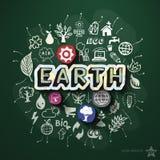 Ekologicollage med symboler på svart tavla Arkivfoto
