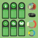 Ekologiczna biznes zieleń infographic z ikonami i 3d sporządza mapę, płaski projekt Zdjęcie Stock